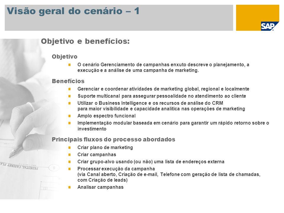 Visão geral do cenário – 1 Objetivo O cenário Gerenciamento de campanhas enxuto descreve o planejamento, a execução e a análise de uma campanha de mar