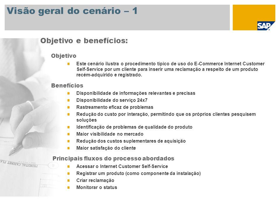 Visão geral do cenário – 1 Objetivo Este cenário ilustra o procedimento típico de uso do E-Commerce Internet Customer Self-Service por um cliente para
