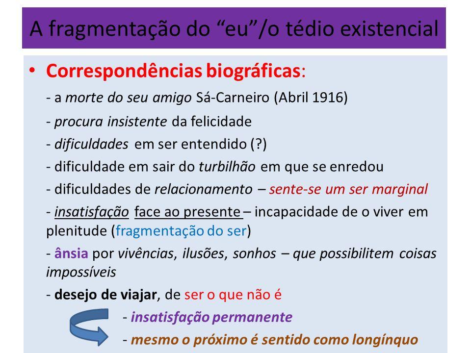 A fragmentação do eu/o tédio existencial A tendência para a intelectualização conduz F.
