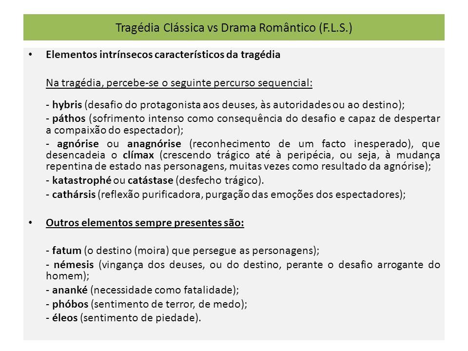 Tragédia Clássica vs Drama Romântico (F.L.S.) Elementos intrínsecos característicos da tragédia Na tragédia, percebe-se o seguinte percurso sequencial