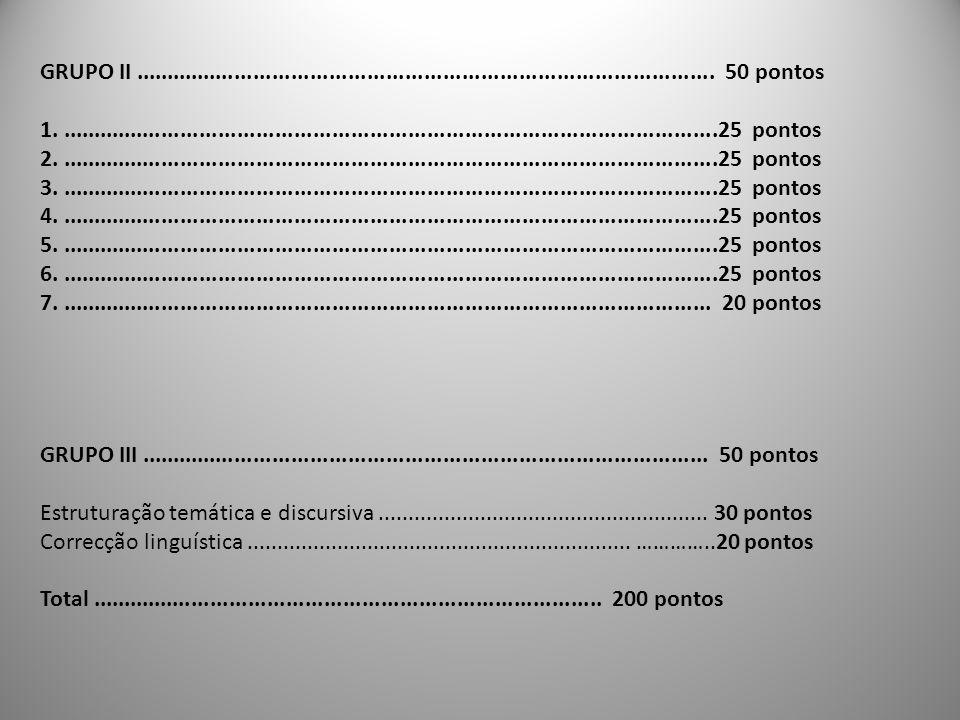 GRUPO II............................................................................................ 50 pontos 1......................................