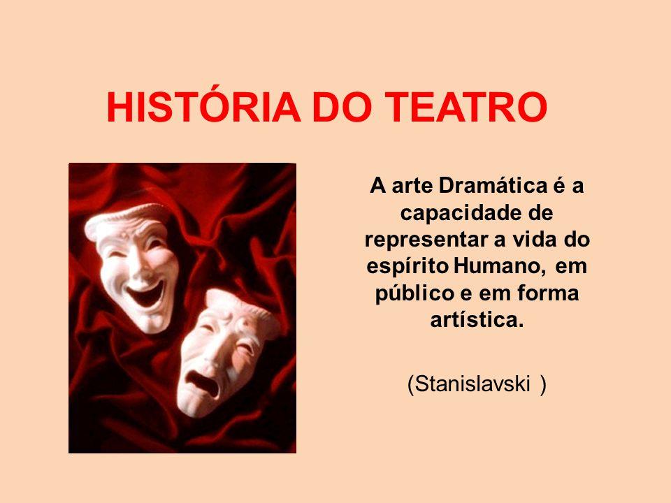 HISTÓRIA DO TEATRO A arte Dramática é a capacidade de representar a vida do espírito Humano, em público e em forma artística. (Stanislavski )