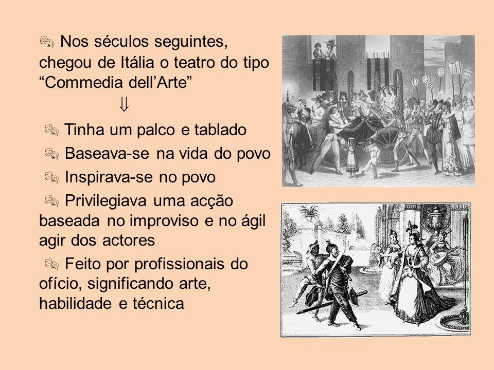 Nos séculos seguintes, chegou de Itália o teatro do tipo Commedia dellArte Tinha um palco e tablado Baseava-se na vida do povo Inspirava-se no povo Pr