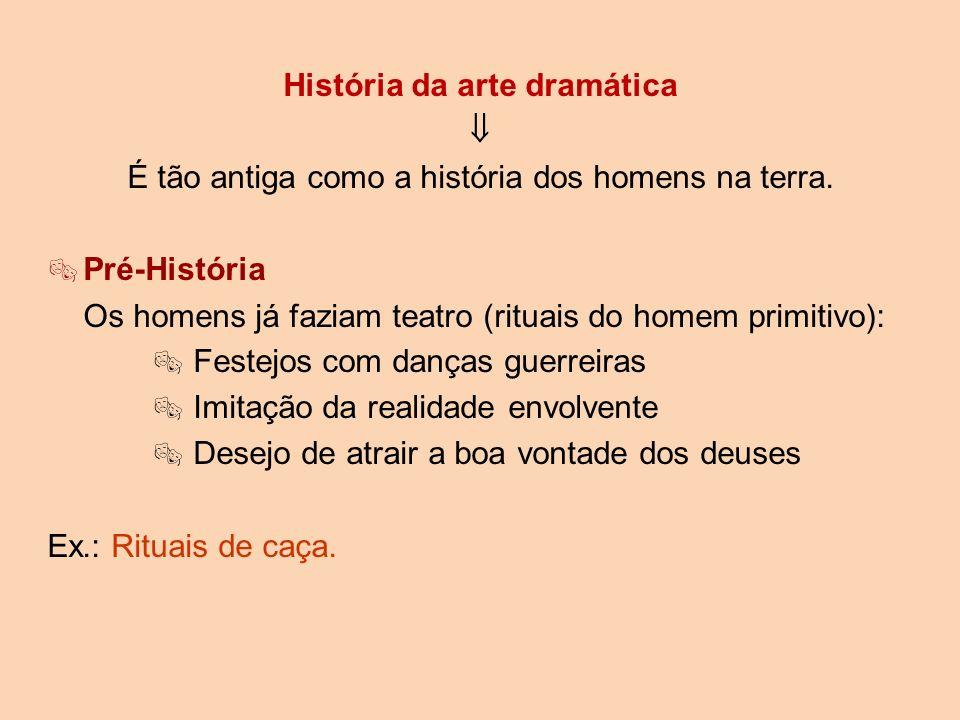 História da arte dramática É tão antiga como a história dos homens na terra. Pré-História Os homens já faziam teatro (rituais do homem primitivo): Fes