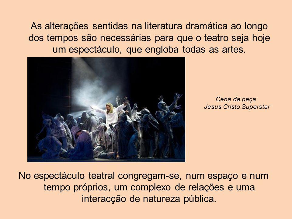 As alterações sentidas na literatura dramática ao longo dos tempos são necessárias para que o teatro seja hoje um espectáculo, que engloba todas as ar