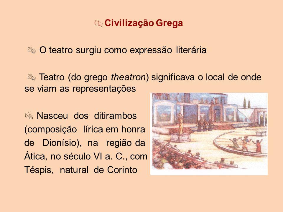 Civilização Grega O teatro surgiu como expressão literária Teatro (do grego theatron) significava o local de onde se viam as representações Nasceu dos