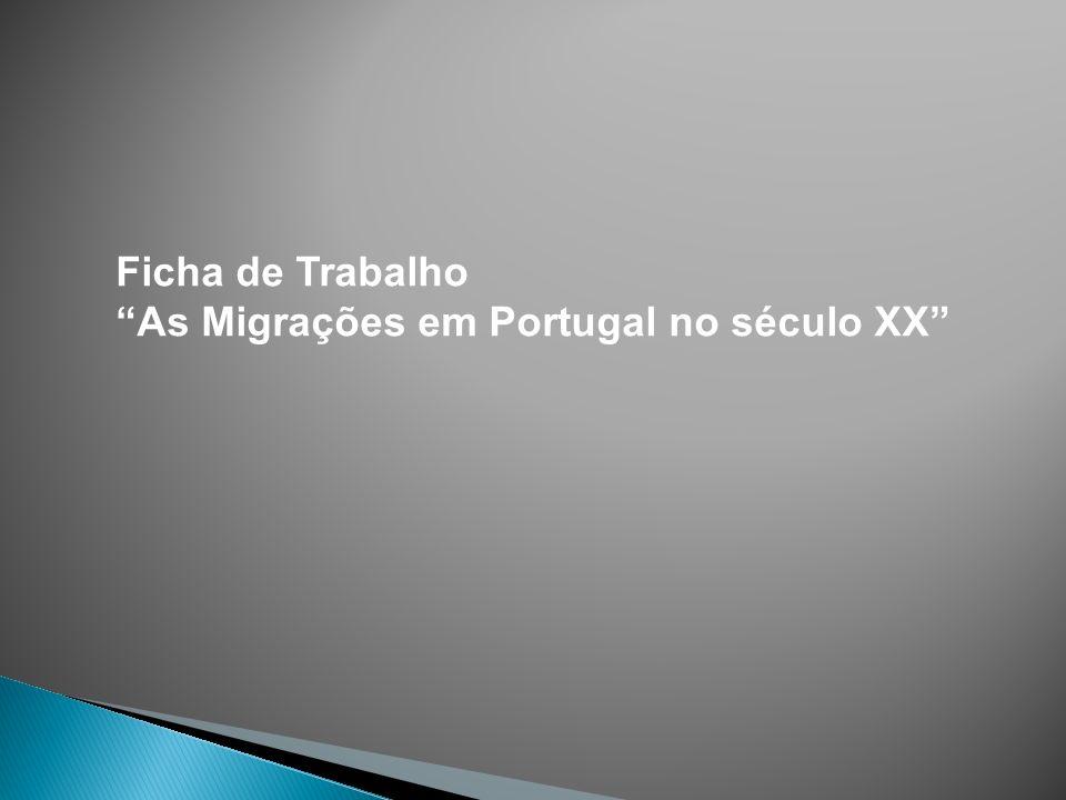 Ficha de Trabalho As Migrações em Portugal no século XX