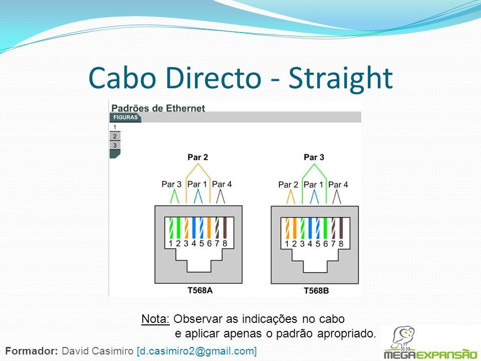 Cabo Directo - Straight Nota: Observar as indicações no cabo e aplicar apenas o padrão apropriado. Formador: David Casimiro [d.casimiro2@gmail.com]