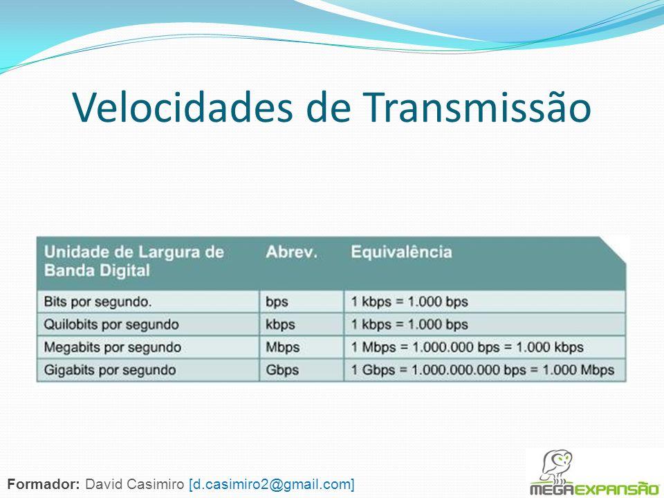 Velocidades de Transmissão Formador: David Casimiro [d.casimiro2@gmail.com]