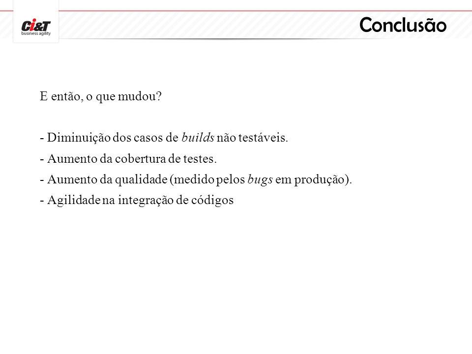 Conclusão E então, o que mudou? - Diminuição dos casos de builds não testáveis. - Aumento da cobertura de testes. - Aumento da qualidade (medido pelos