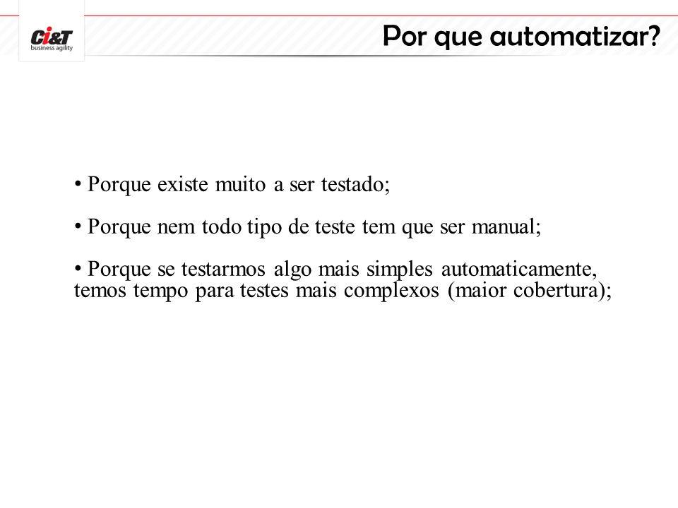 Por que automatizar? Porque existe muito a ser testado; Porque nem todo tipo de teste tem que ser manual; Porque se testarmos algo mais simples automa