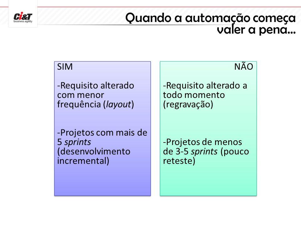 Quando a automação começa valer a pena... SIM -Requisito alterado com menor frequência (layout) -Projetos com mais de 5 sprints (desenvolvimento incre