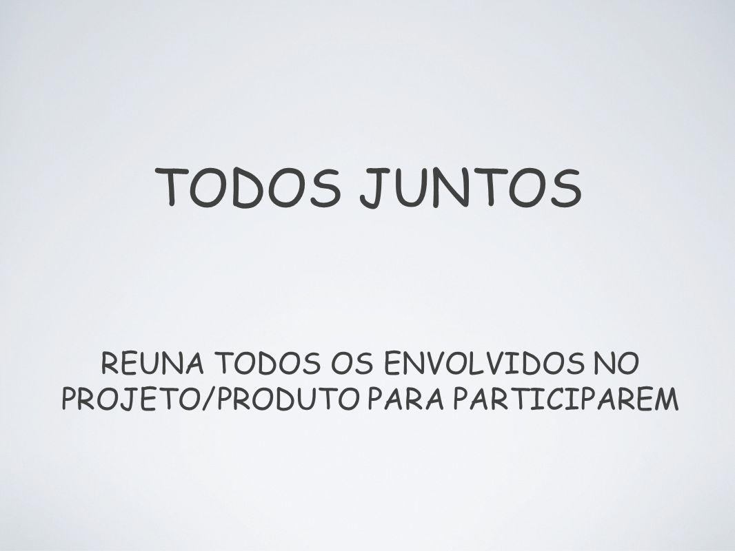 TODOS JUNTOS REUNA TODOS OS ENVOLVIDOS NO PROJETO/PRODUTO PARA PARTICIPAREM