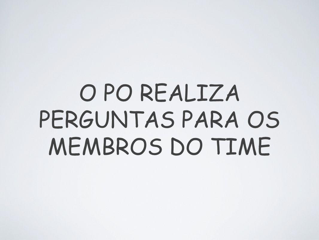 O PO REALIZA PERGUNTAS PARA OS MEMBROS DO TIME