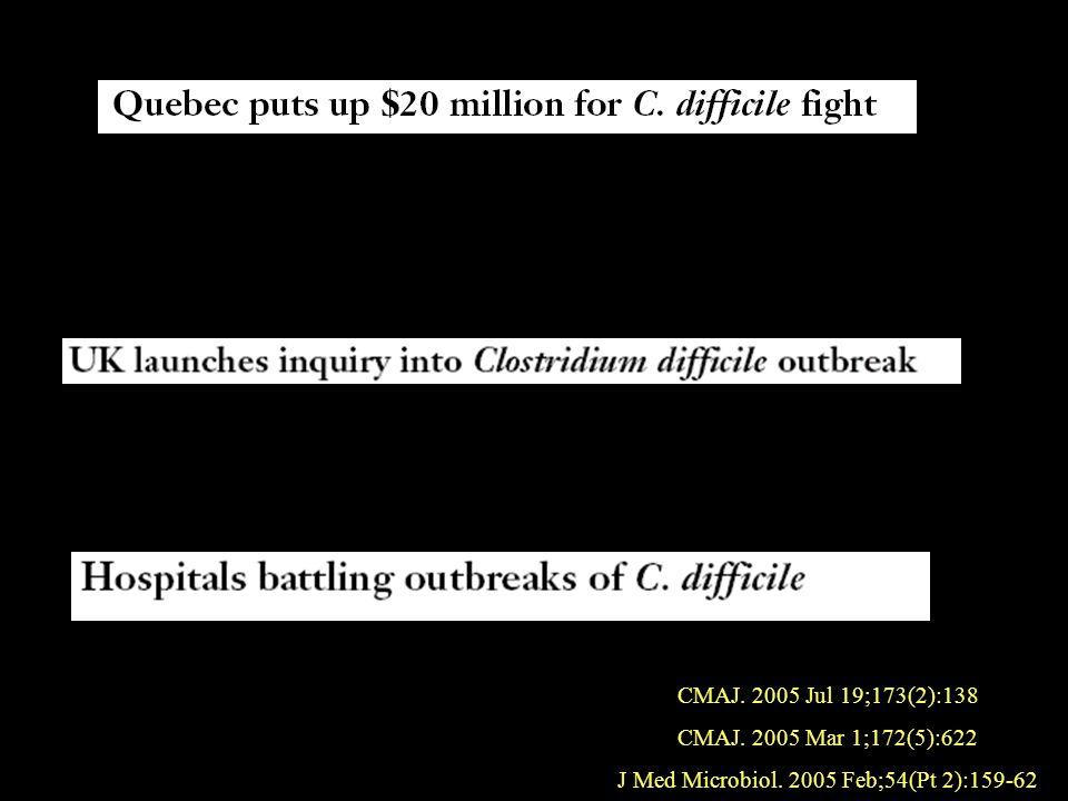 CMAJ. 2005 Jul 19;173(2):138 CMAJ. 2005 Mar 1;172(5):622 J Med Microbiol. 2005 Feb;54(Pt 2):159-62