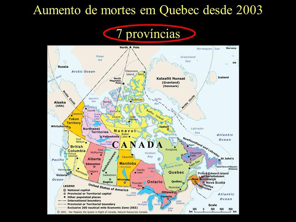 Aumento de mortes em Quebec desde 2003 7 províncias