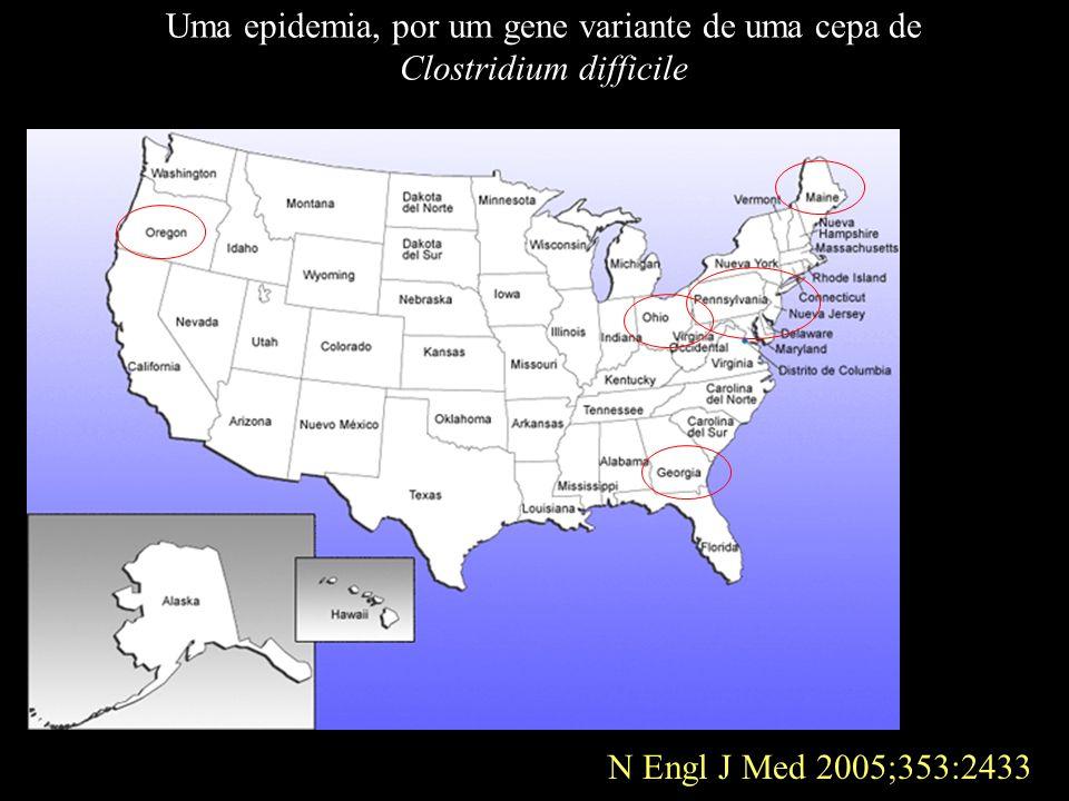 N Engl J Med 2005;353:2433 Uma epidemia, por um gene variante de uma cepa de Clostridium difficile