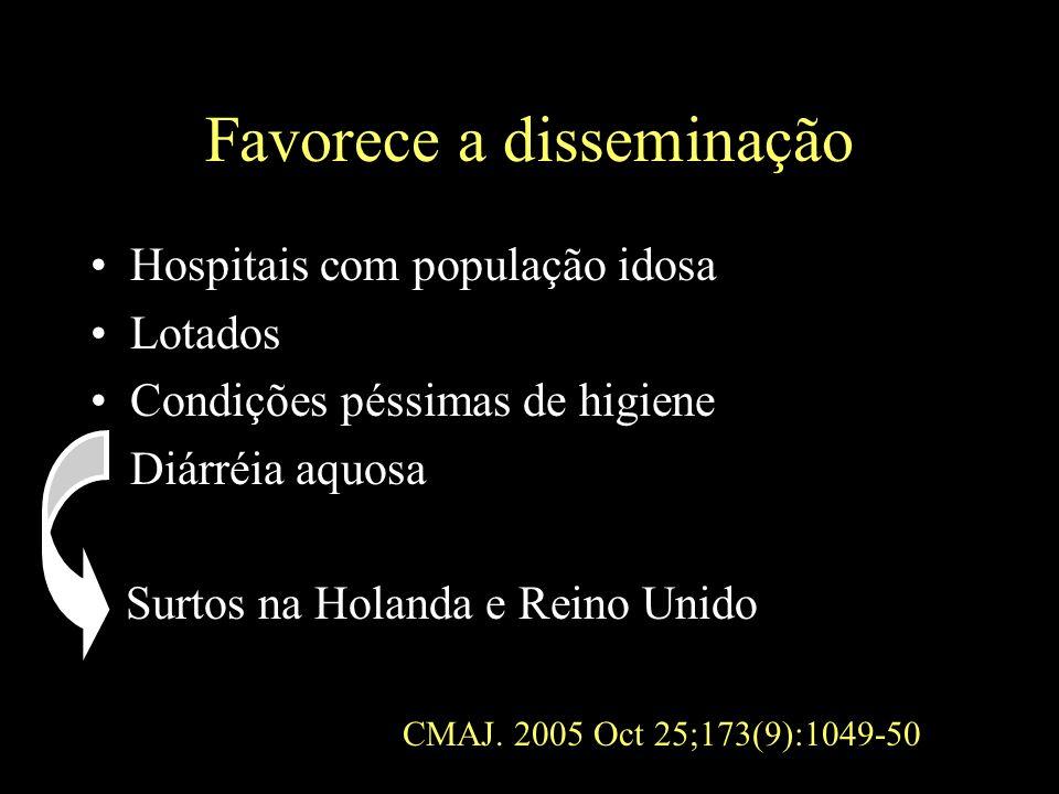 Favorece a disseminação Hospitais com população idosa Lotados Condições péssimas de higiene Diárréia aquosa Surtos na Holanda e Reino Unido CMAJ. 2005