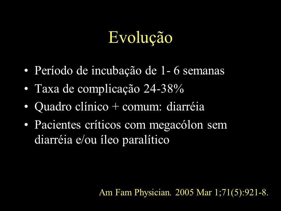 Evolução Período de incubação de 1- 6 semanas Taxa de complicação 24-38% Quadro clínico + comum: diarréia Pacientes críticos com megacólon sem diarréi