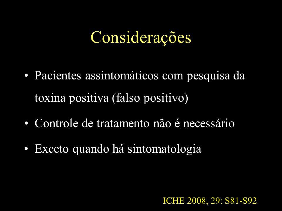 Considerações Pacientes assintomáticos com pesquisa da toxina positiva (falso positivo) Controle de tratamento não é necessário Exceto quando há sinto