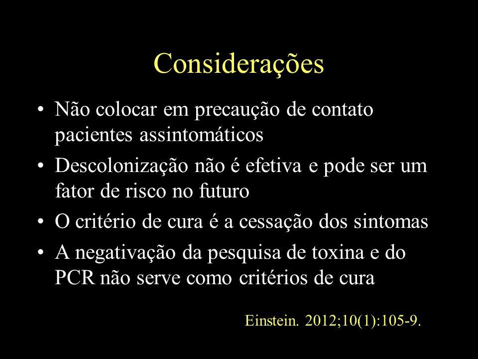 Considerações Não colocar em precaução de contato pacientes assintomáticos Descolonização não é efetiva e pode ser um fator de risco no futuro O crité