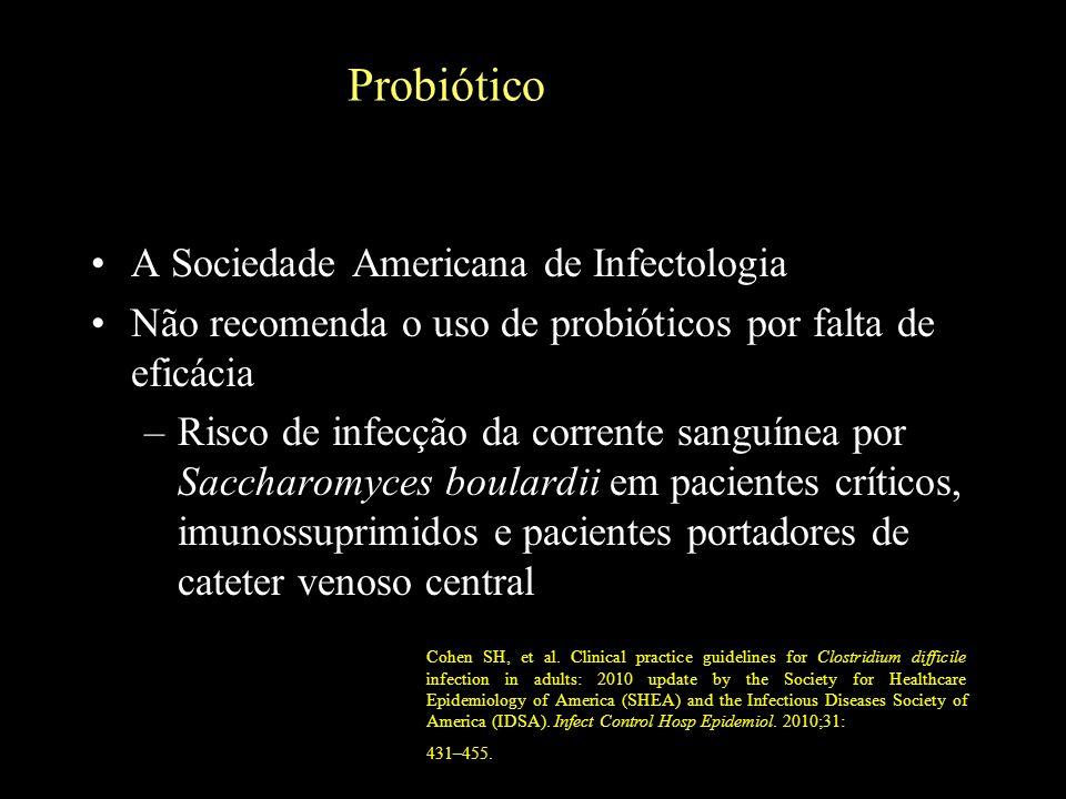 Probiótico A Sociedade Americana de Infectologia Não recomenda o uso de probióticos por falta de eficácia –Risco de infecção da corrente sanguínea por
