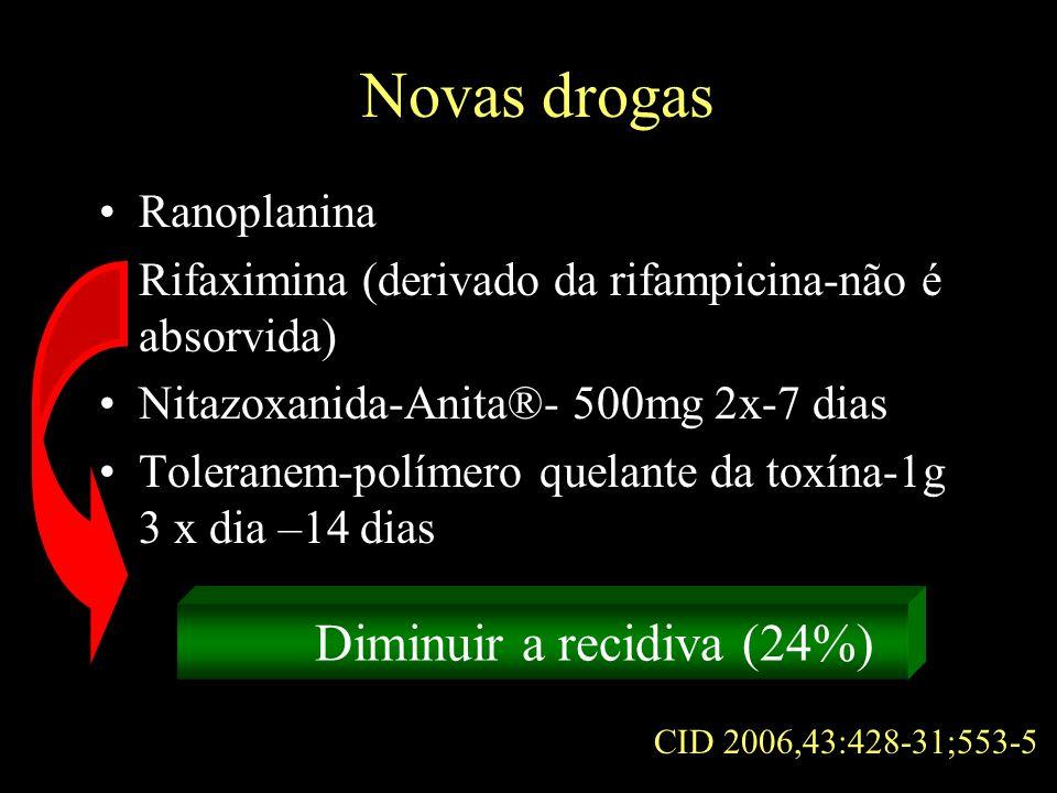 Novas drogas Ranoplanina Rifaximina (derivado da rifampicina-não é absorvida) Nitazoxanida-Anita®- 500mg 2x-7 dias Toleranem-polímero quelante da toxí
