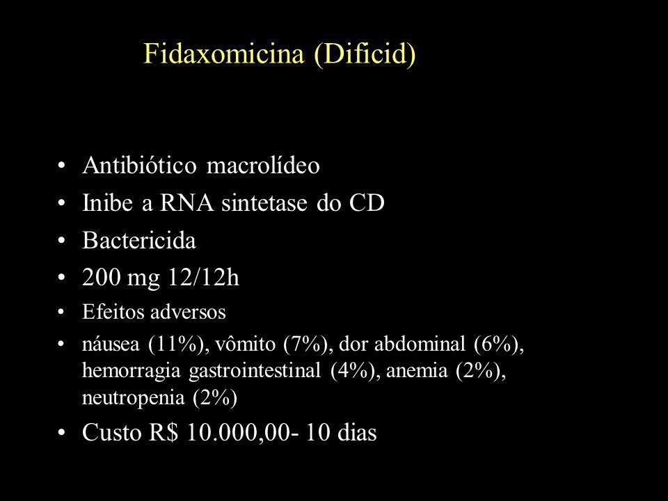 Fidaxomicina (Dificid) Antibiótico macrolídeo Inibe a RNA sintetase do CD Bactericida 200 mg 12/12h Efeitos adversos náusea (11%), vômito (7%), dor ab