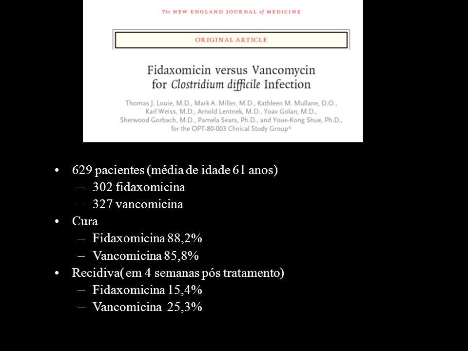 629 pacientes (média de idade 61 anos) –302 fidaxomicina –327 vancomicina Cura –Fidaxomicina 88,2% –Vancomicina 85,8% Recidiva( em 4 semanas pós trata