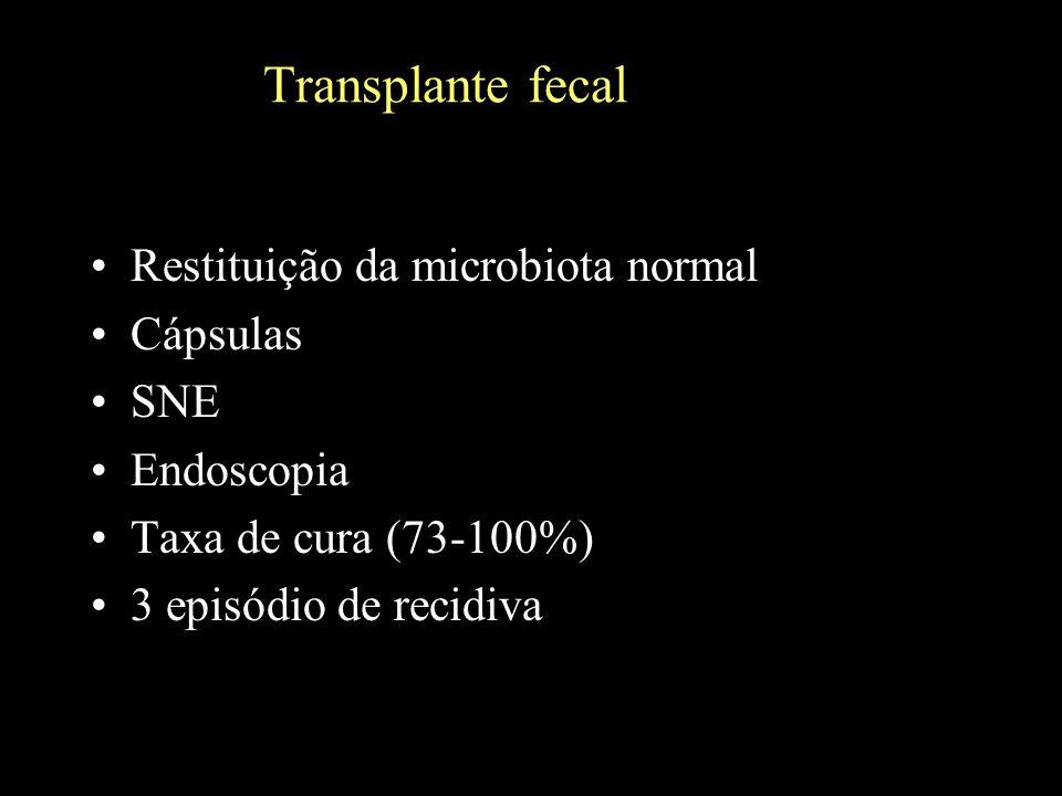 Transplante fecal Restituição da microbiota normal Cápsulas SNE Endoscopia Taxa de cura (73-100%) 3 episódio de recidiva