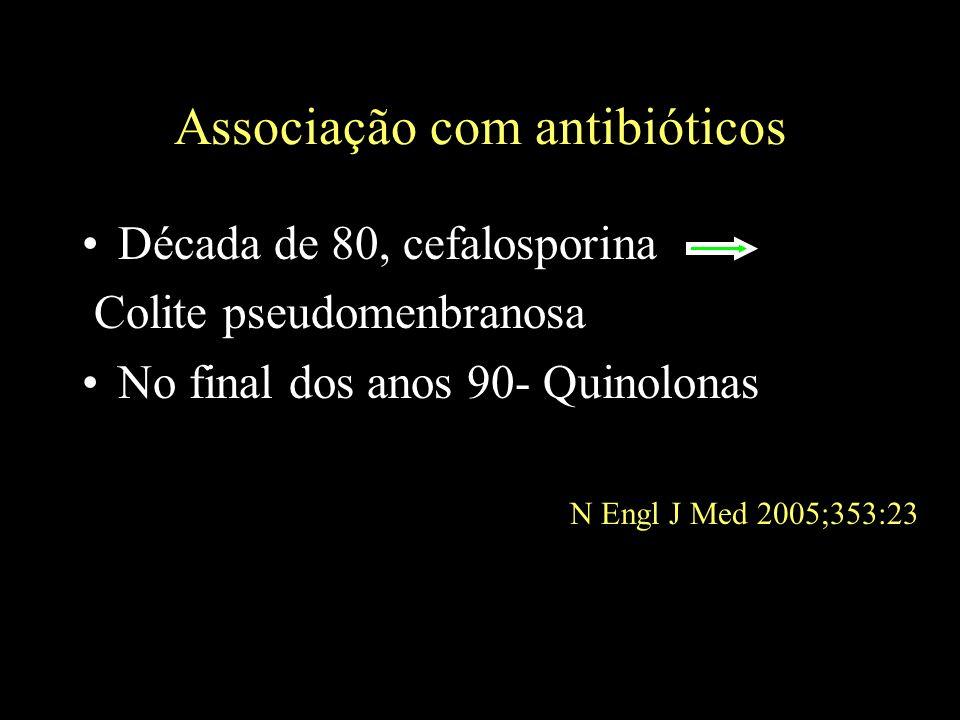 Associação com antibióticos Década de 80, cefalosporina Colite pseudomenbranosa No final dos anos 90- Quinolonas N Engl J Med 2005;353:23
