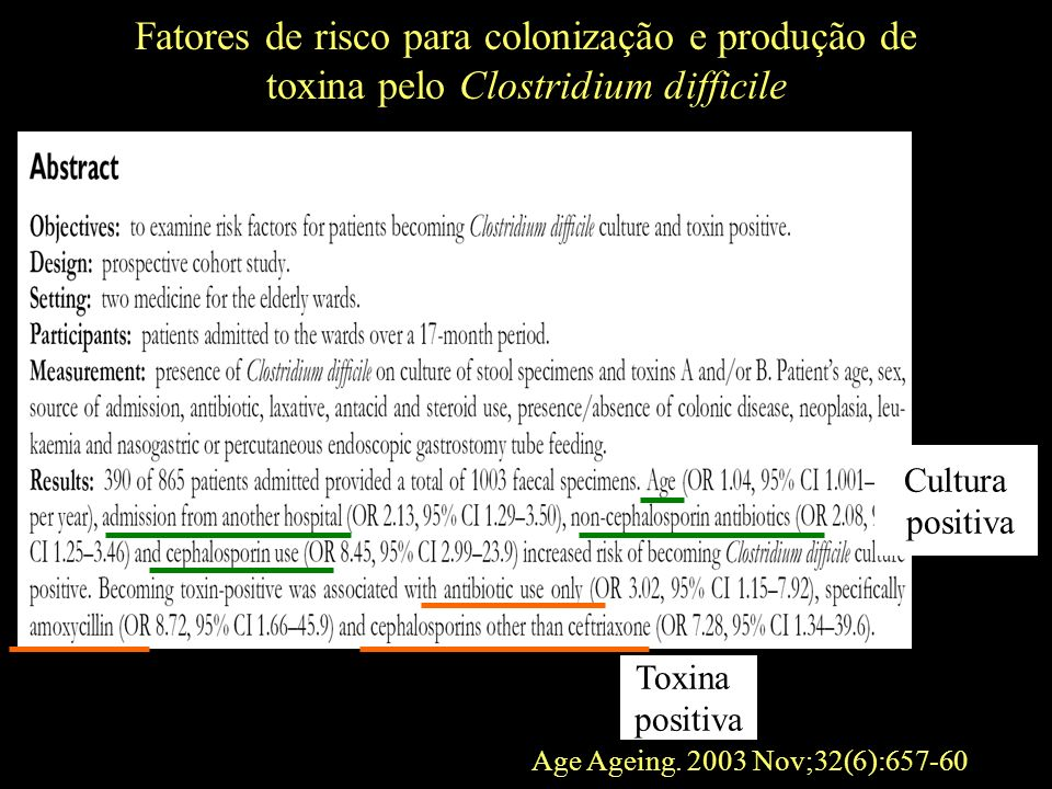 Cultura positiva Toxina positiva Age Ageing. 2003 Nov;32(6):657-60 Fatores de risco para colonização e produção de toxina pelo Clostridium difficile