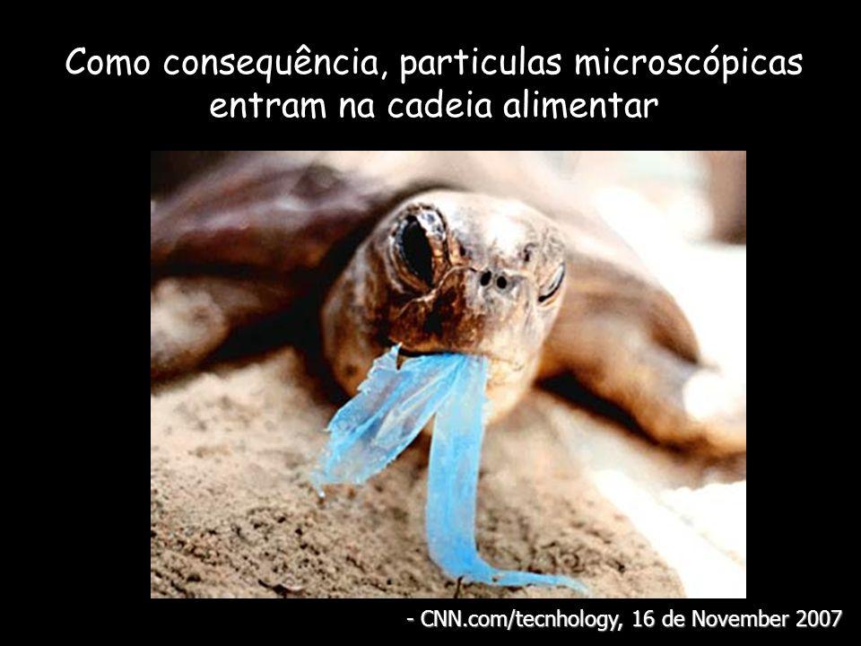 Como consequência, particulas microscópicas entram na cadeia alimentar - CNN.com/tecnhology, 16 de November 2007