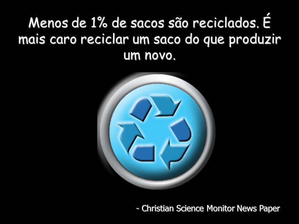 Menos de 1% de sacos são reciclados. É mais caro reciclar um saco do que produzir um novo.