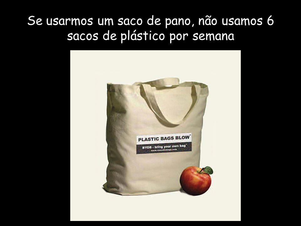 Se usarmos um saco de pano, não usamos 6 sacos de plástico por semana