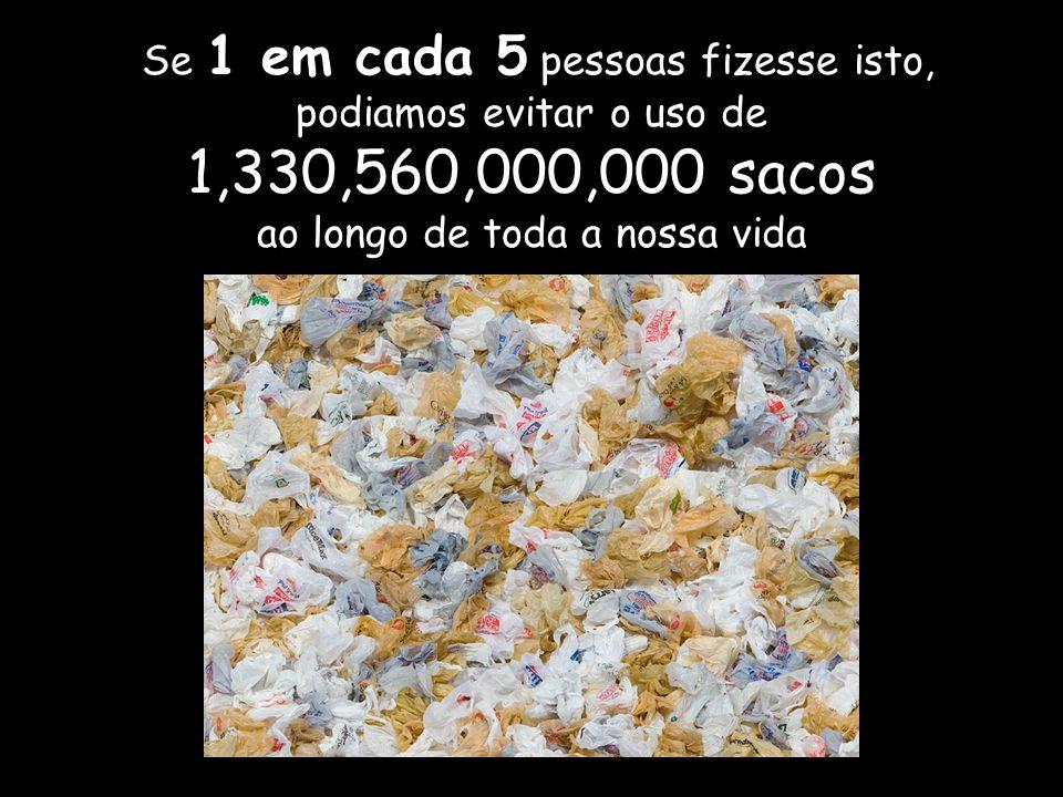Se 1 em cada 5 pessoas fizesse isto, podiamos evitar o uso de 1,330,560,000,000 sacos ao longo de toda a nossa vida