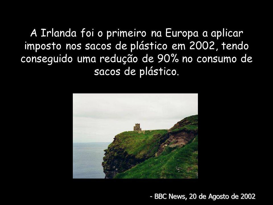 A Irlanda foi o primeiro na Europa a aplicar imposto nos sacos de plástico em 2002, tendo conseguido uma redução de 90% no consumo de sacos de plástico.
