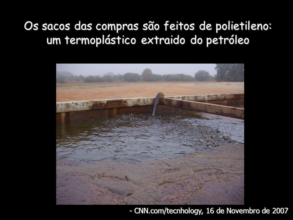 Os sacos das compras são feitos de polietileno: um termoplástico extraido do petróleo - CNN.com/tecnhology, 16 de Novembro de 2007
