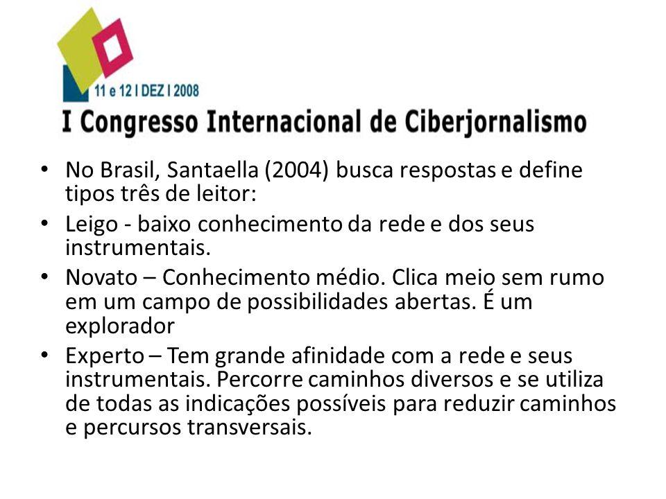 No Brasil, Santaella (2004) busca respostas e define tipos três de leitor: Leigo - baixo conhecimento da rede e dos seus instrumentais. Novato – Conhe