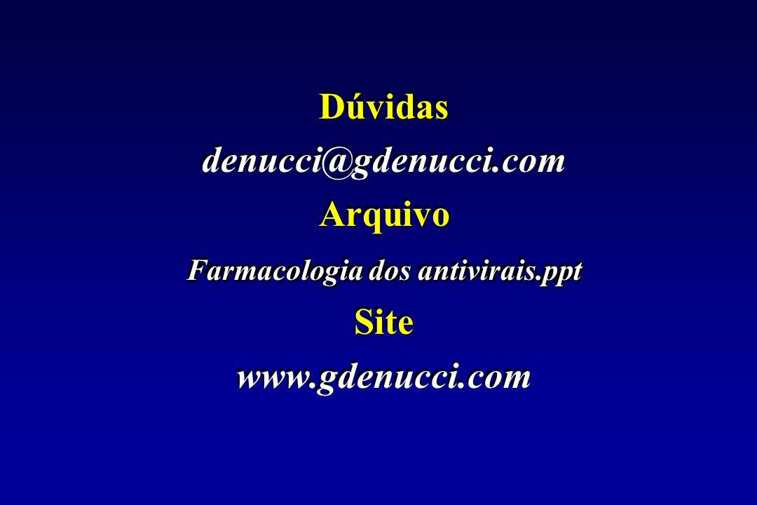 Dúvidas denucci@gdenucci.com Arquivo Farmacologia dos antivirais.ppt Site www.gdenucci.com Dúvidas denucci@gdenucci.com Arquivo Farmacologia dos antiv