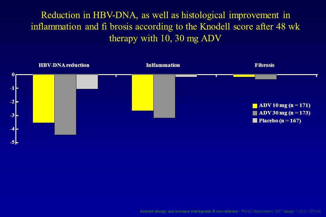 HBV-DNA reductionInlfammationFibrosis ADV 10 mg (n = 171) ADV 30 mg (n = 173) Placebo (n = 167) 0 -2 -3 -4 -5 Reduction in HBV-DNA, as well as histolo