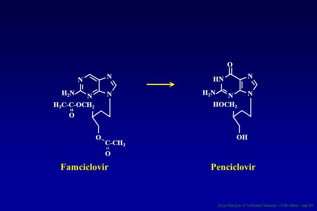 H 3 C-C-OCH 2 H2NH2N O N N N N O O C-CH 3 HOCH 2 H2NH2N HN N N N OH O FamciclovirPenciclovir Foyes Principles of Medicinal Chemestry – Fifth edition –