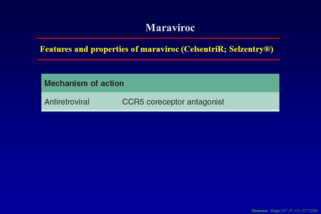 Maraviroc Features and properties of maraviroc (CelsentriR; Selzentry®) Maraviroc - Drugs 2007; 67 (15): 2277-2288
