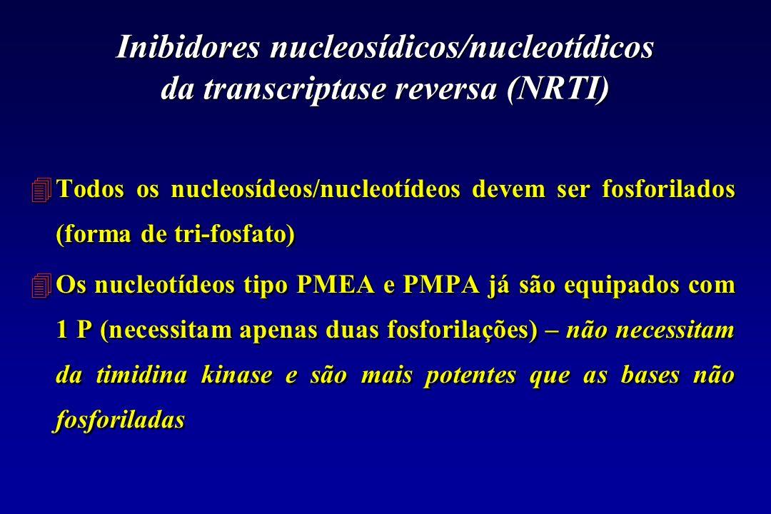 Inibidores nucleosídicos/nucleotídicos da transcriptase reversa (NRTI) 4Todos os nucleosídeos/nucleotídeos devem ser fosforilados (forma de tri-fosfat