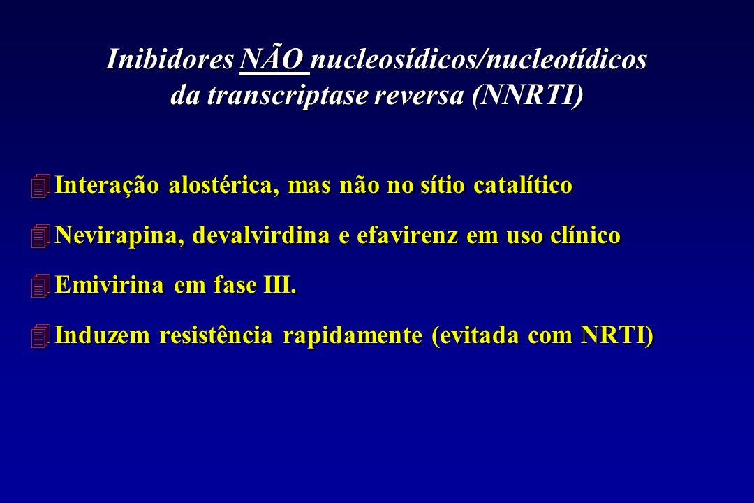 Inibidores NÃO nucleosídicos/nucleotídicos da transcriptase reversa (NNRTI) 4Interação alostérica, mas não no sítio catalítico 4Nevirapina, devalvirdi