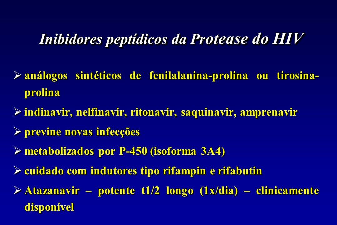 Inibidores peptídicos da Pr otease do HIV análogos sintéticos de fenilalanina-prolina ou tirosina- prolina indinavir, nelfinavir, ritonavir, saquinavi