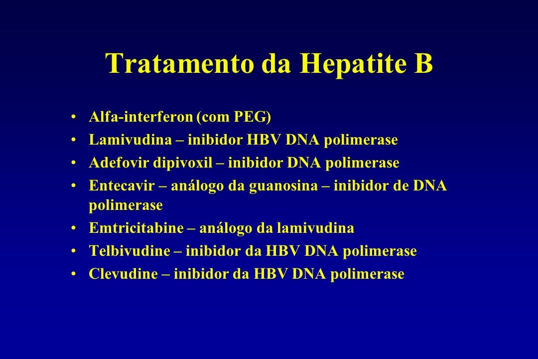 Tratamento da Hepatite B Alfa-interferon (com PEG) Lamivudina – inibidor HBV DNA polimerase Adefovir dipivoxil – inibidor DNA polimerase Entecavir – a