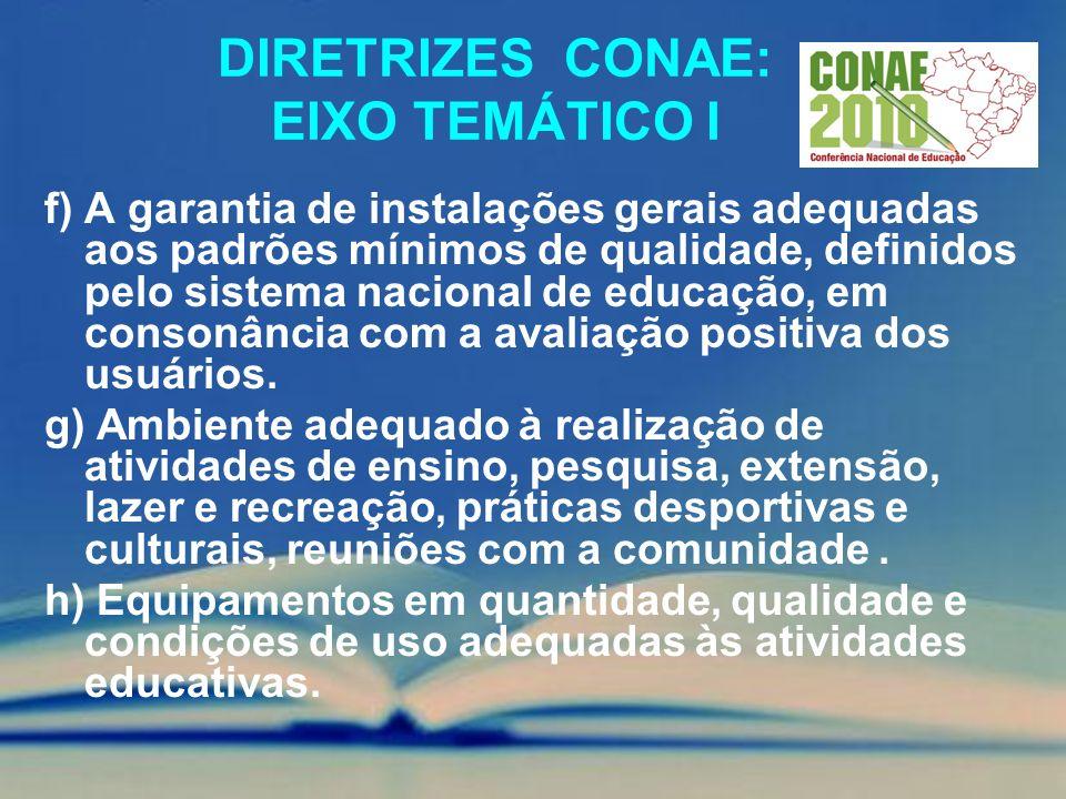DIRETRIZES CONAE: EIXO TEMÁTICO I f) A garantia de instalações gerais adequadas aos padrões mínimos de qualidade, definidos pelo sistema nacional de e