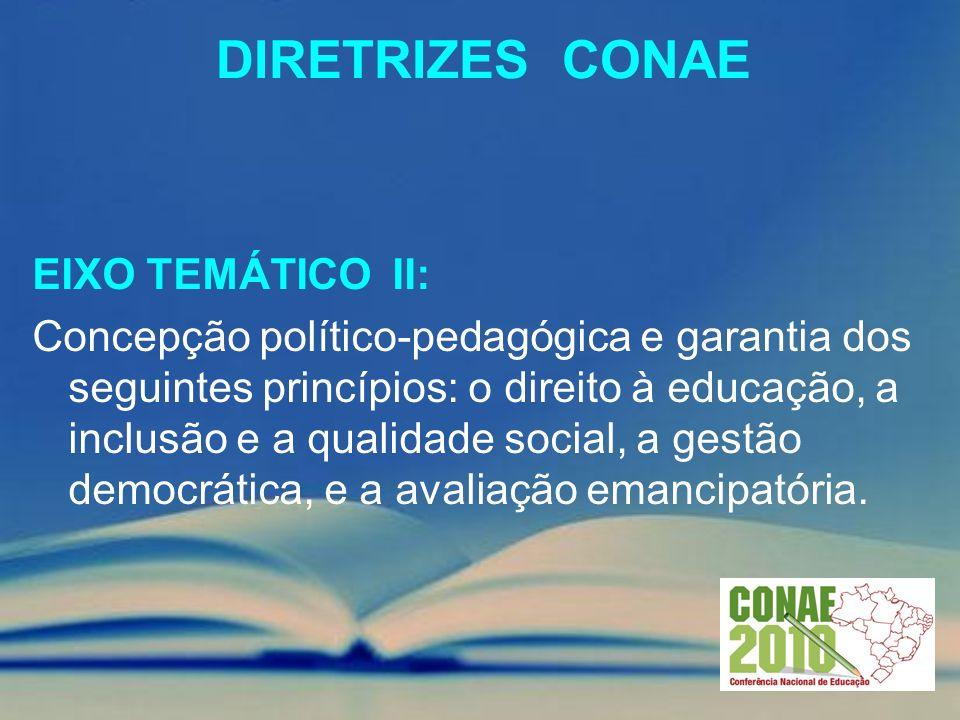 DIRETRIZES CONAE EIXO TEMÁTICO II: Concepção político-pedagógica e garantia dos seguintes princípios: o direito à educação, a inclusão e a qualidade s