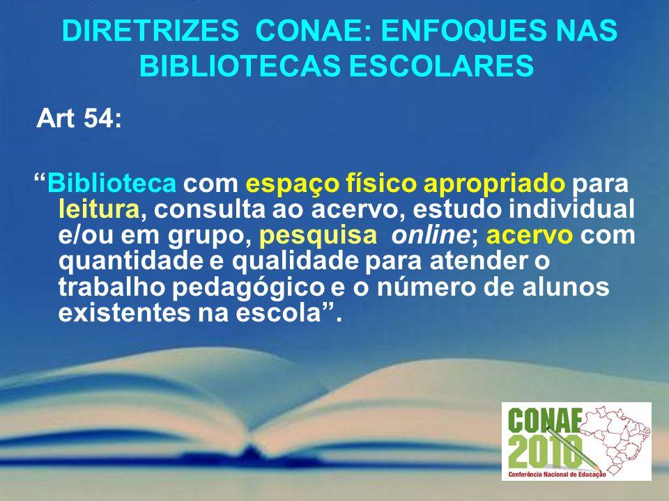 DIRETRIZES CONAE: ENFOQUES NAS BIBLIOTECAS ESCOLARES Art 54: Biblioteca com espaço físico apropriado para leitura, consulta ao acervo, estudo individu